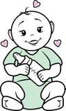 Bébé avec une bouteille dans des ses mains Icône pour l'aliment pour bébé Photographie stock