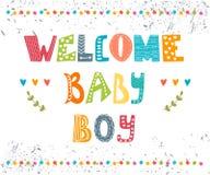Bébé bienvenu Carte postale d'arrivée de bébé garçon Photo stock