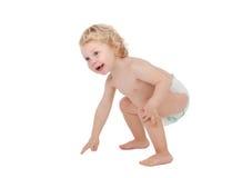 Bébé blond adorable avec deux ans dans la couche-culotte Images libres de droits