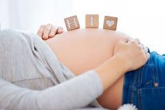 Bébé célèbre d'avenir disant le bonjour au monde Photo stock