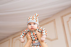 Bébé caucasien adorable Portrait d'un bébé garçon de trois mois Photo libre de droits