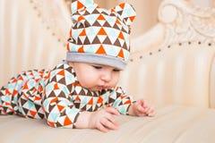 Bébé caucasien adorable Portrait d'un bébé garçon de trois mois Images libres de droits