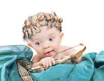 Bébé caucasien dans un valentine costumé photo stock