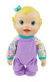 Bébé - costume violet de poupée, fond d'isolat images stock