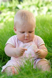 Bébé dans l'herbe Images stock