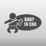 Bébé dans l'icône de voiture Images libres de droits