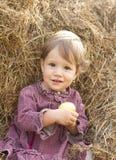 Bébé dans la meule de foin Image libre de droits