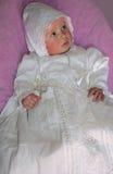 Bébé dans la robe de dentelle Images libres de droits