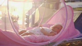Bébé dans le berceau rose extérieur en été clips vidéos