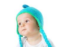 Bébé dans le chapeau de singe Images libres de droits