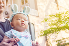 Bébé dans un transporteur de bébé avec le père Photo libre de droits
