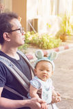 Bébé dans un transporteur de bébé avec le père Images libres de droits