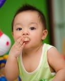 Bébé de Chomchai regardant et mangeant. Photo libre de droits