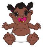 Bébé de nègre avec une tétine illustration stock