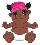 Bébé de nègre dans le chapeau rose illustration libre de droits
