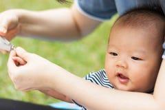 Bébé de parenting de mère sur le parc Image libre de droits