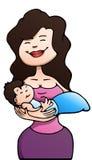 Bébé de prise de mère sur le blanc d'isolement Photo stock