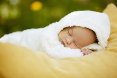 Bébé de sommeil sur le grand oreiller jaune dans le domaine de fleurs photo stock