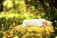 Bébé de sommeil sur le grand oreiller jaune dans le domaine de fleurs photographie stock libre de droits