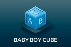 Bébé de vecteur simple et icônes isométriquesde PregnancyCube en bébé garçon avec trois lettres Symbole de vecteur dans l'icôn Photos stock