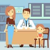 Bébé et sa pédiatre de visite de mère - concept de médecine d'enfants illustration de vecteur