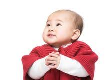 Bébé faisant le souhait image stock