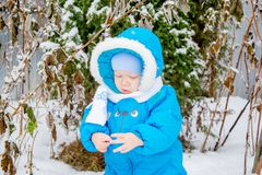 Bébé garçon étonné avec la première neige tenant la neige à sa main Photos stock