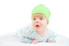 Bébé garçon au-dessus de blanc Images libres de droits