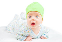 Bébé garçon au-dessus de blanc Photos libres de droits