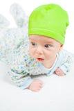 Bébé garçon au-dessus de blanc Images stock