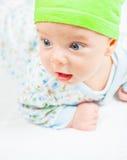 Bébé garçon au-dessus de blanc Image libre de droits