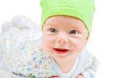 Bébé garçon au-dessus de blanc Photos stock