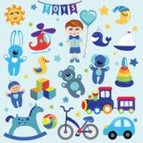 Bébé garçon avec des icônes de jouet de bébé illustration de vecteur