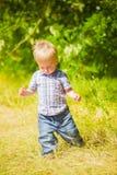 Bébé garçon dans le domaine Image stock