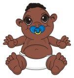 Bébé garçon de nègre avec une tétine illustration de vecteur