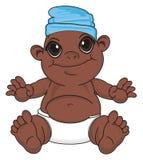 Bébé garçon de nègre dans le chapeau bleu illustration de vecteur