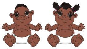 Bébé garçon et bébé de sourire de nègre illustration libre de droits