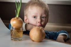 Bébé garçon et ciboulette fraîche Images stock