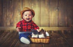 Bébé garçon heureux jouant avec des chatons Image libre de droits