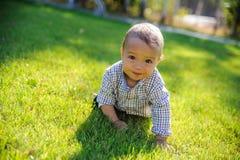 Bébé garçon heureux rampant sur l'herbe en parc photos libres de droits