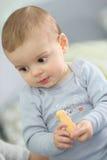 Bébé garçon mangeant le biscuit d'un enfant Image libre de droits