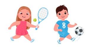 Bébé garçon mignon jouant au football avec du ballon de football La fille font le tennis activités saines illustration de vecteur