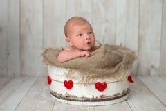Bébé garçon nouveau-né dans un seau en bois image stock