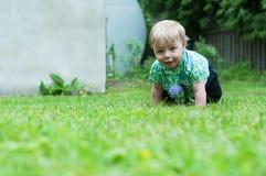 Bébé garçon rampant sur l'herbe Photographie stock libre de droits