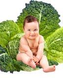 Bébé heureux s'asseyant dans des lames de chou Photographie stock