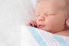 Bébé infantile enveloppé dans la couverture d'hôpital photos stock