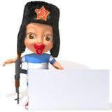 Bébé Jake avec l'illustration russe du chapeau de fourrure 3d Photos stock