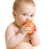 Bébé mangeant de la nourriture saine d'isolement Photo libre de droits