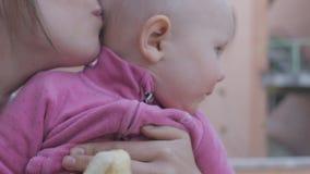 Bébé mangeant la banane des mains de mère clips vidéos