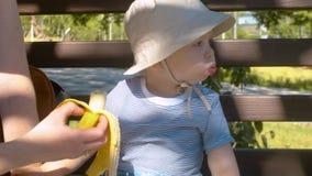 Bébé mangeant la banane en parc clips vidéos